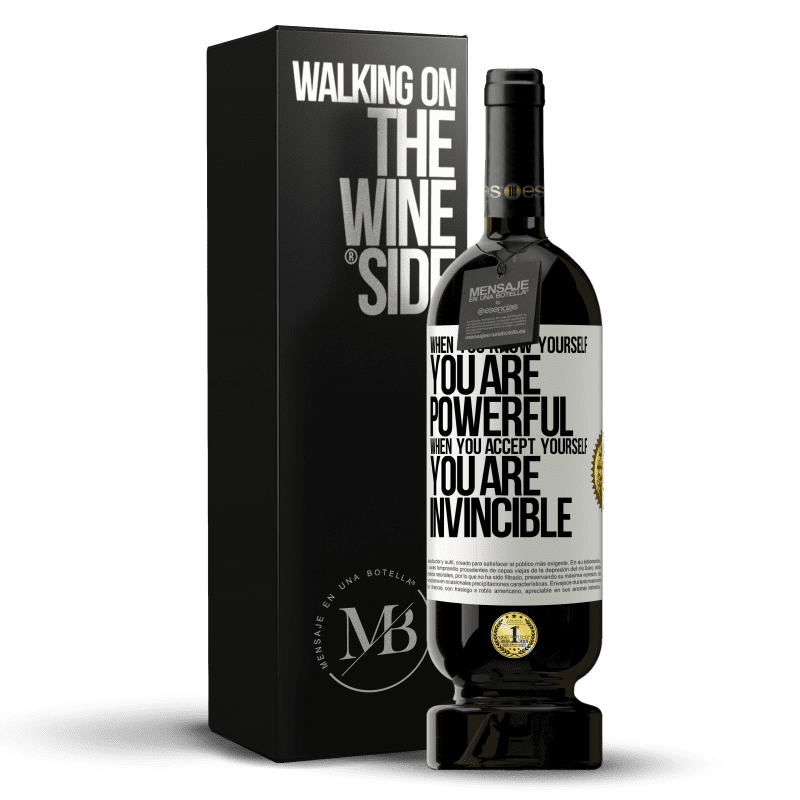 29,95 € Free Shipping | Red Wine Premium Edition MBS® Reserva When you know yourself, you are powerful. When you accept yourself, you are invincible White Label. Customizable label Reserva 12 Months Harvest 2013 Tempranillo