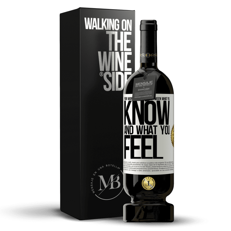 29,95 € Free Shipping | Red Wine Premium Edition MBS® Reserva Your worst battle is between what you know and what you feel White Label. Customizable label Reserva 12 Months Harvest 2013 Tempranillo