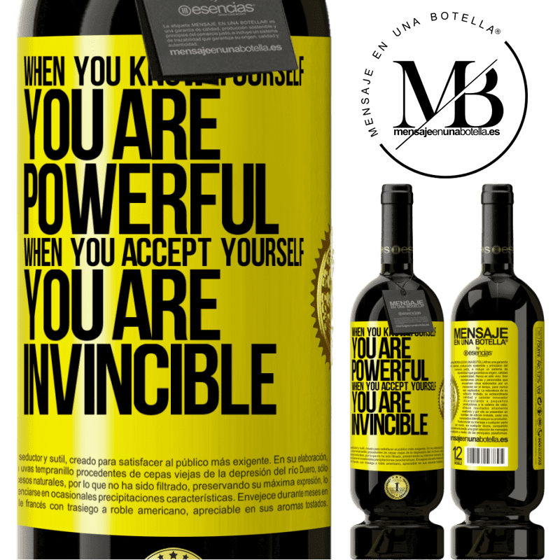 29,95 € Free Shipping | Red Wine Premium Edition MBS® Reserva When you know yourself, you are powerful. When you accept yourself, you are invincible Yellow Label. Customizable label Reserva 12 Months Harvest 2013 Tempranillo
