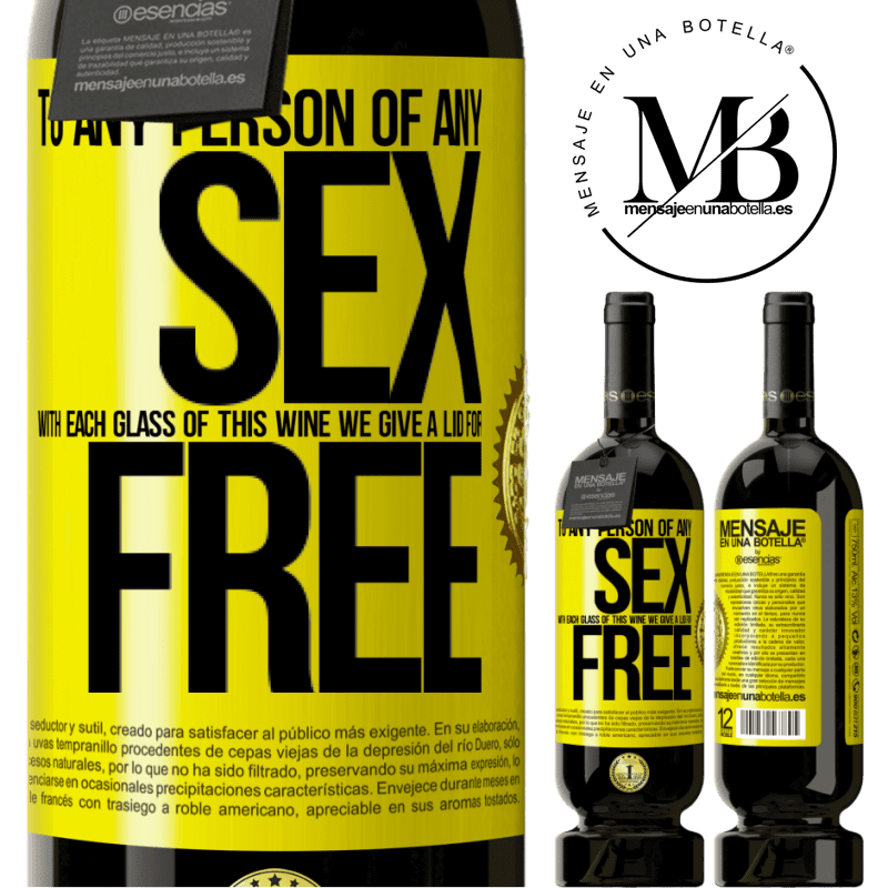 29,95 € Free Shipping | Red Wine Premium Edition MBS® Reserva To any person of any SEX with each glass of this wine we give a lid for FREE Yellow Label. Customizable label Reserva 12 Months Harvest 2013 Tempranillo