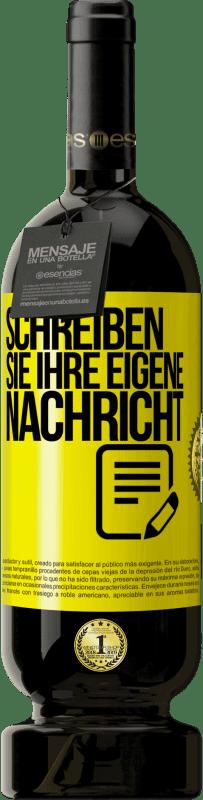 29,95 € Kostenloser Versand | Rotwein Premium Ausgabe MBS® Reserva Schreiben Sie Ihre eigene Nachricht Gelbes Etikett. Anpassbares Etikett Reserva 12 Monate Ernte 2013 Tempranillo