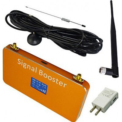 Mobile phone signal booster. Amplifier with Whip and Sucker antennas. Gold color. LCD Display