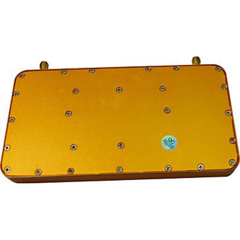 Signal Boosters Mobile phone signal booster. Amplifier with Whip and Sucker antennas. Gold color. LCD Display CDMA 1000m2
