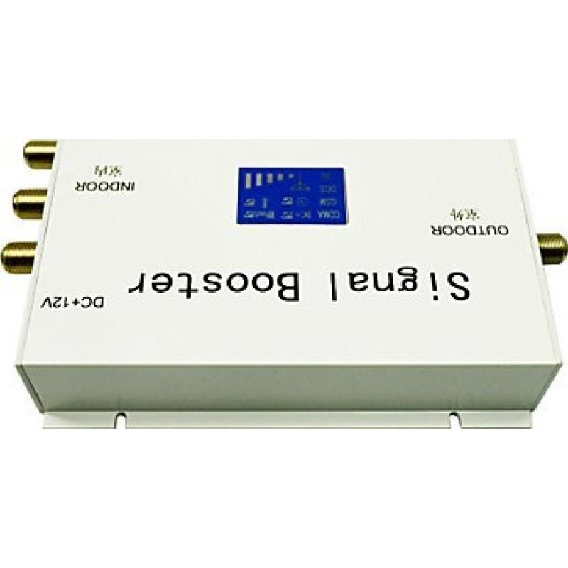 Amplificateurs de Signal Amplificateur de signal de téléphone mobile. Amplificateur avec antennes fouet et yagi. Couleur blanche. Affichage LCD GSM