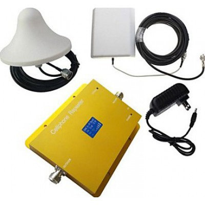 Dual band cell phone signal booster. Panel and ceiling antenna. LCD Display