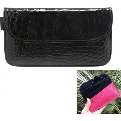 ジャマーアクセサリー クロコダイルPUレザー保護放射線対策バッグ。スマートフォン用の信号遮断ケースポーチ。黒色。 6.1x3.3インチ