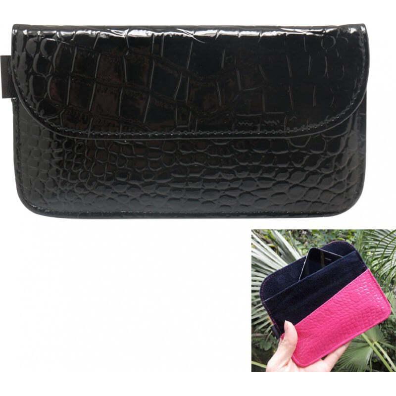 Аксессуары для ингибиторов Крокодил ПУ Кожаная защитная противорадиационная сумка. Чехол для смартфона, блокирующий сигнал. Черный цвет. 6,1х3,3 дюйма