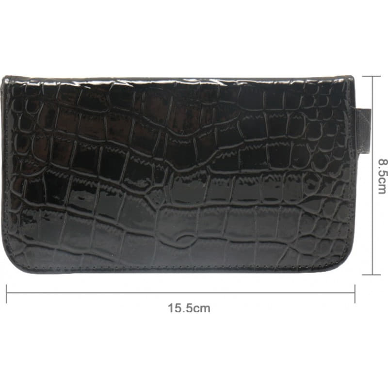 Jammer Accessories Crocodile PU Leather protective anti-radiation bag. Signal blocking case pouch for smartphones. Black color. 6.1x3.3 inches