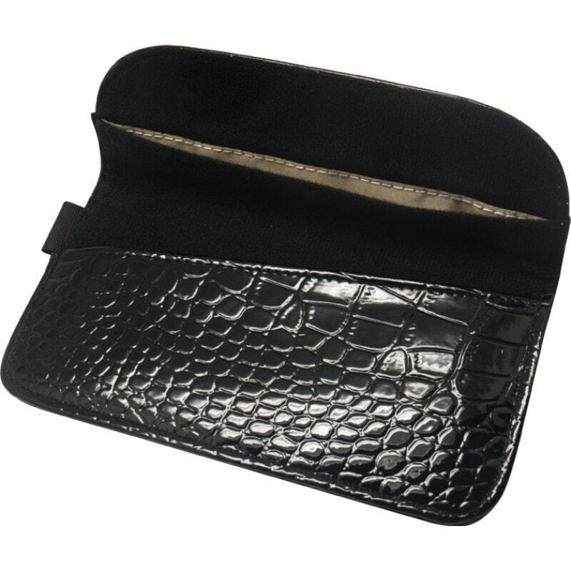 Accessoires d'Inhibiteur Crocodile PU Sac de protection en cuir anti-radiations. Étui de blocage des signaux pour smartphones. Couleur noire. 6.1x3.3 pou