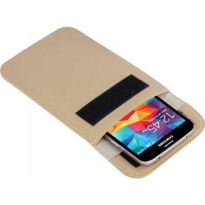 Strahlenschutzbeutel. Etui zur Signalblockierung für Smartphones. Kahki Farbe