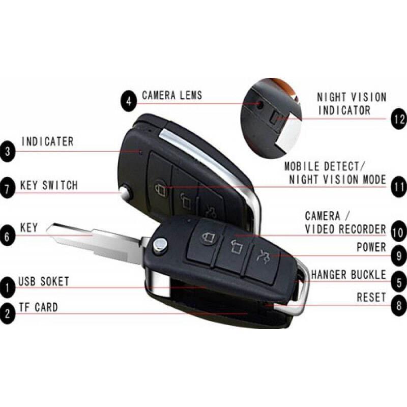 44,95 € Envoi gratuit   Touches Espion Mini enregistreur vidéo numérique de clé de voiture. Caméra espion. Caméscope DVR caché. Fente TF 1080P Full HD
