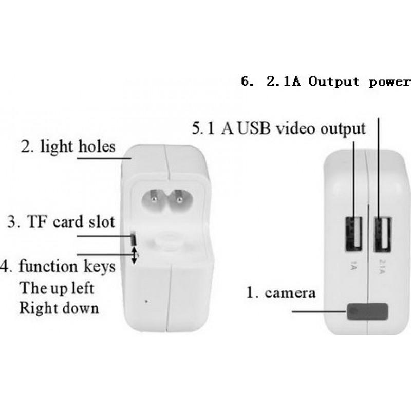 45,95 € Envío gratis | Otras Cámaras Ocultas Adaptador espía cargador de cámara. Mini cámara oculta. Grabador vídeo digital (DVR). Cargador con enchufe de US / EU / UK 1080P Full HD