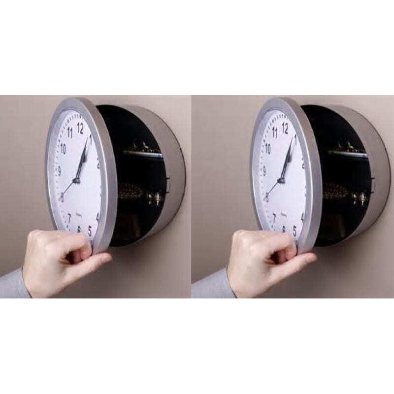 Hidden Spy Gadgets Wall clock shaped security cash box