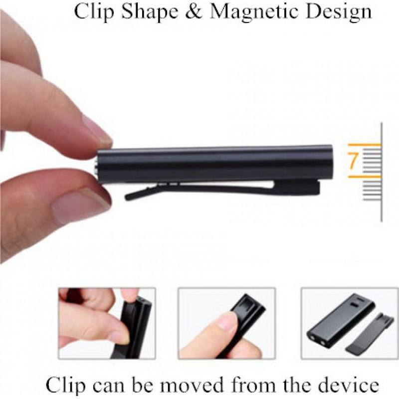 Signalmelder Clipförmiges Diktiergerät. Magnetisches Design. Dateiverschlüsselungsfunktion 16 Gb
