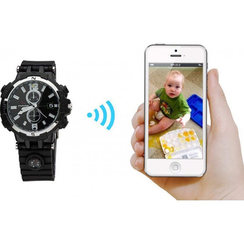 75,95 € Free Shipping   Watch Hidden Cameras WiFi Spy watch. Controlled and Viewed from your cell phone. Hidden camera. IR night vision. Motion detection 720P HD