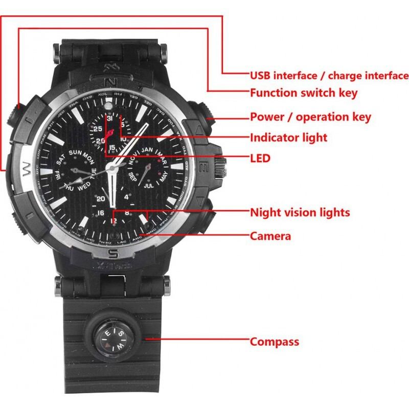 72,95 € 免费送货   观看隐藏的相机 WiFi间谍手表。通过手机控制和查看。隐藏的相机。红外夜视。运动检测 720P HD