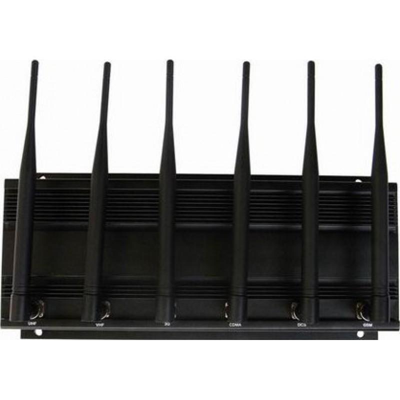114,95 € 免费送货   手机干扰器 高功率信号阻断器。 6天线 GPS 3G