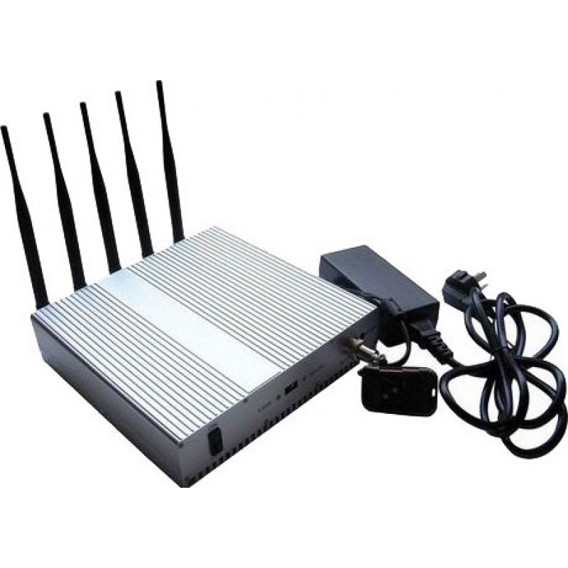 87,95 € Free Shipping   Cell Phone Jammers 5 Bands. Signal blocker with remote control. Omnidirectional antennas Cell phone
