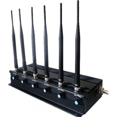 124,95 € Бесплатная доставка | Блокаторы мобильных телефонов Регулируемый блокировщик сигнала 15 Вт. 6 антенн GPS GPS L1