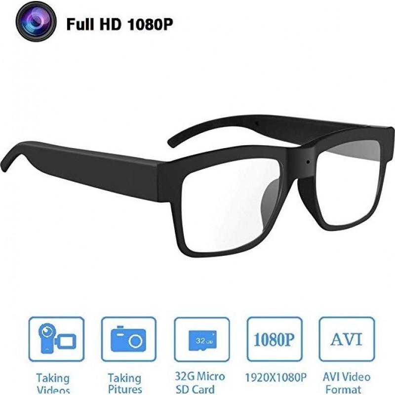 22,95 € Kostenloser Versand | Brillen mit verstecktern Kameras Brille mit Spionage-Kamera. 1080P HD. Videobrille. 32 GB Speicherkarte. Tragbare Kamera