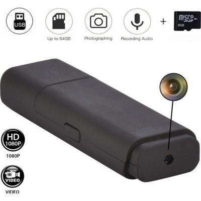 41,95 € 送料無料 | USBドライブ隠しカメラ USBスパイキー。ミニUSBフラッシュドライブ。ビデオカメラHD。 1080P。 8GB。音声付きマイクロビデオレコーダー