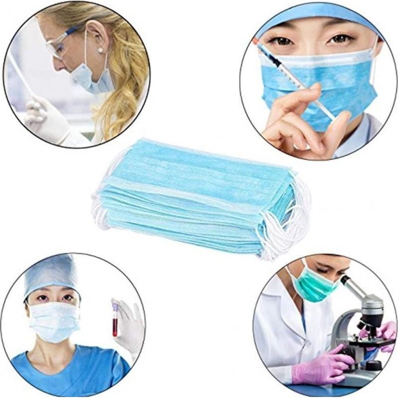 Scatola da 50 unità Maschere Protezione Respiratorie Maschera sanitaria monouso per il viso. Protezione respiratoria Traspirante con filtro a 3 strati