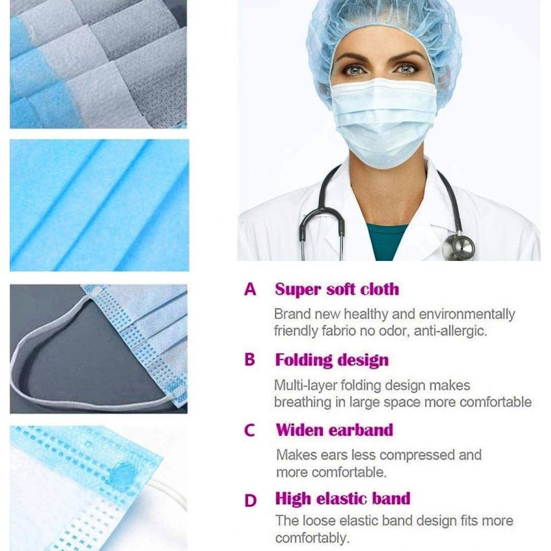 Boîte de 50 unités Masques Protection Respiratoire Masque hygiénique facial jetable. Protection respiratoire. Respirant avec filtre 3 couches