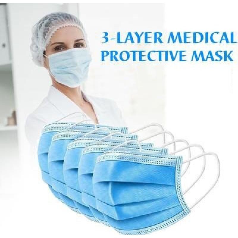50 Einheiten Box Atemschutzmasken Einweg-Hygienemaske für das Gesicht. Atemschutz. Atmungsaktiv mit 3-Lagen-Filter