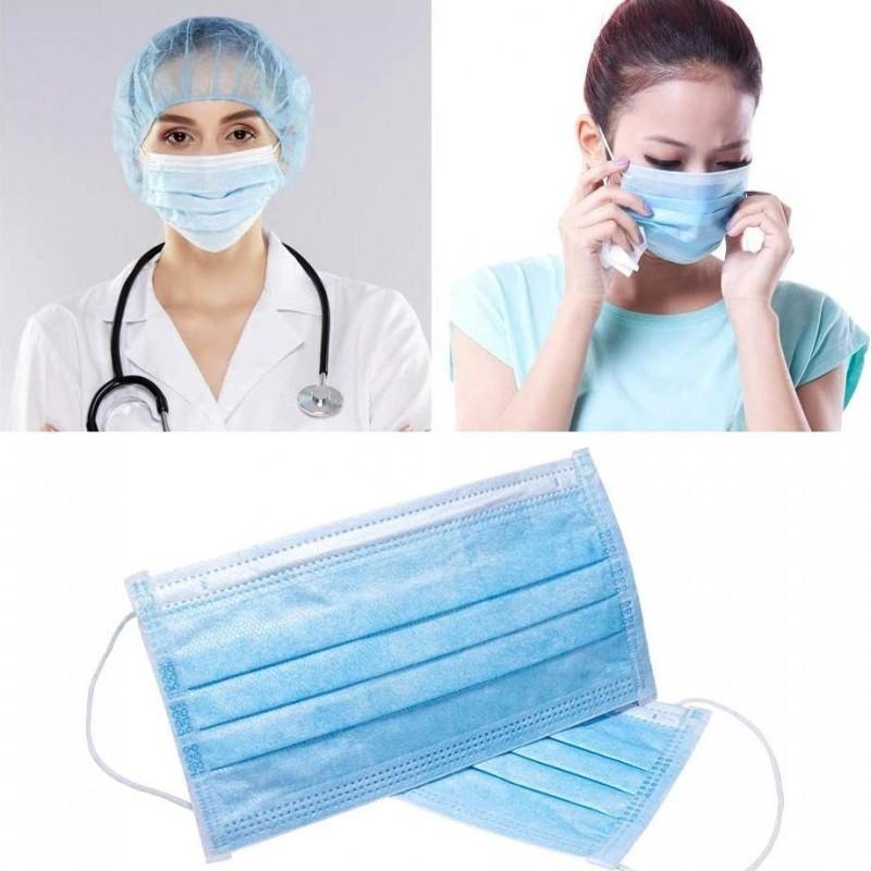 Caixa de 100 unidades Máscaras Proteção Respiratória Máscara sanitária facial descartável. Proteção respiratória. Respirável com filtro de 3 camadas