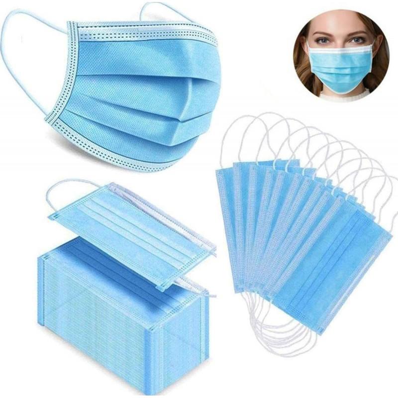 盒装100个 呼吸防护面罩 一次性面部卫生口罩。呼吸系统防护。三层过滤透气