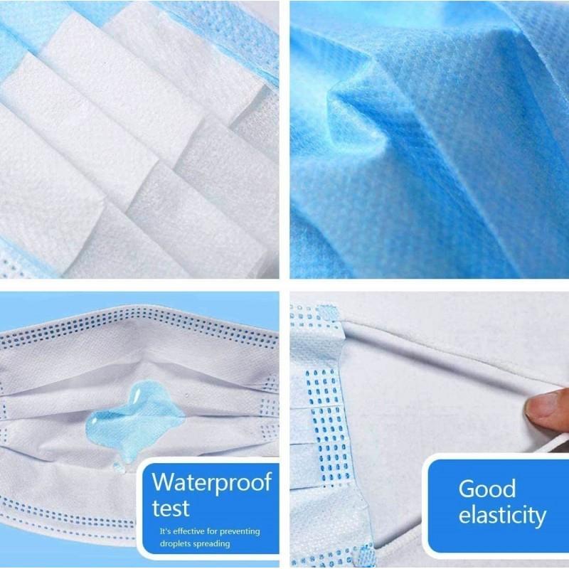 Scatola da 100 unità Maschere Protezione Respiratorie Maschera sanitaria monouso per il viso. Protezione respiratoria Traspirante con filtro a 3 strati