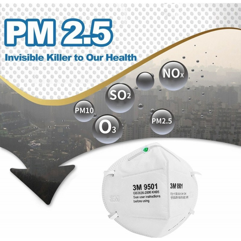 79,95 € Spedizione Gratuita | Scatola da 10 unità Maschere Protezione Respiratorie 3M Modello 9001. FFP1 KN90. Maschera di protezione respiratorie. Antipolvere pieghevole. PM2.5. Maschera antiappannamento