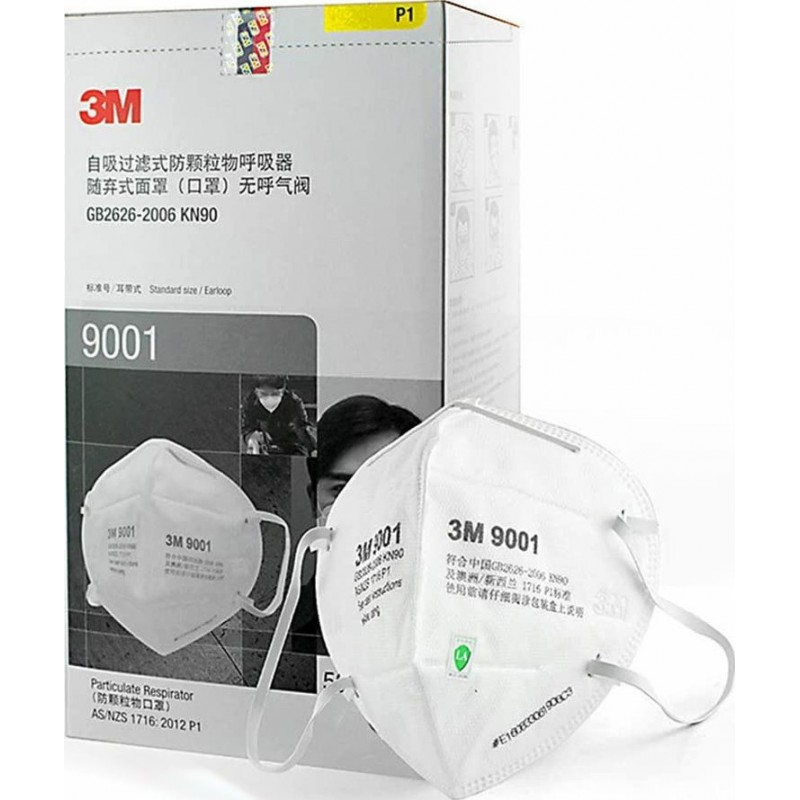 99,95 € Envoi gratuit | Boîte de 20 unités Masques Protection Respiratoire 3M Modèle 9001. FFP1 KN90. Masque de protection respiratoire. Masque anti-poussière pliable. PM2.5. Masque anti-buée