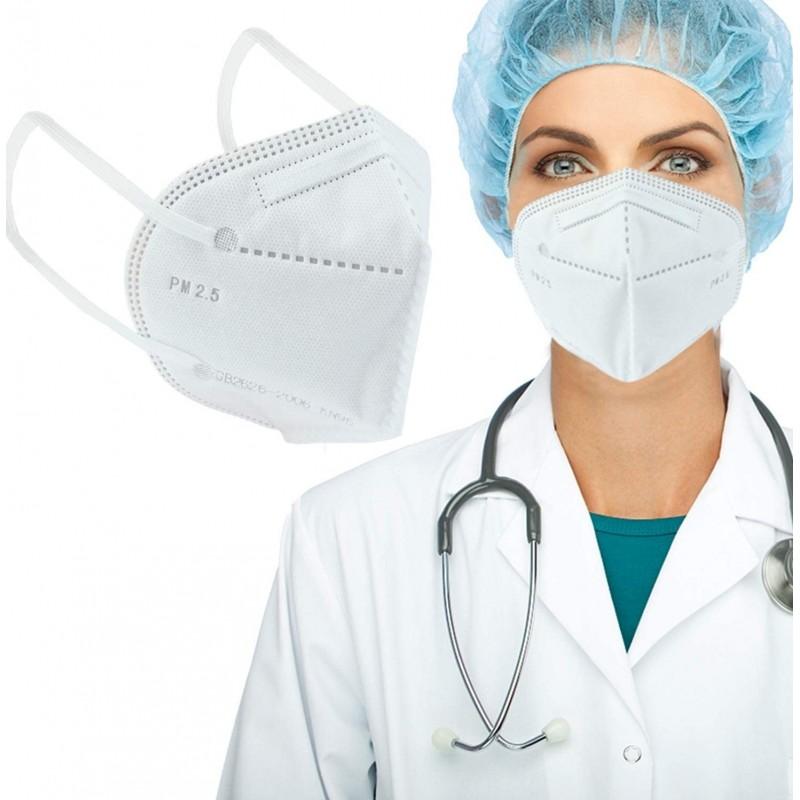 Caja de 50 unidades Mascarillas Protección Respiratoria Mascarilla respiratoria autofiltrante. KN95. 95% de filtración. Cinco capas. Protección contra virus y bacterias. PM2.5