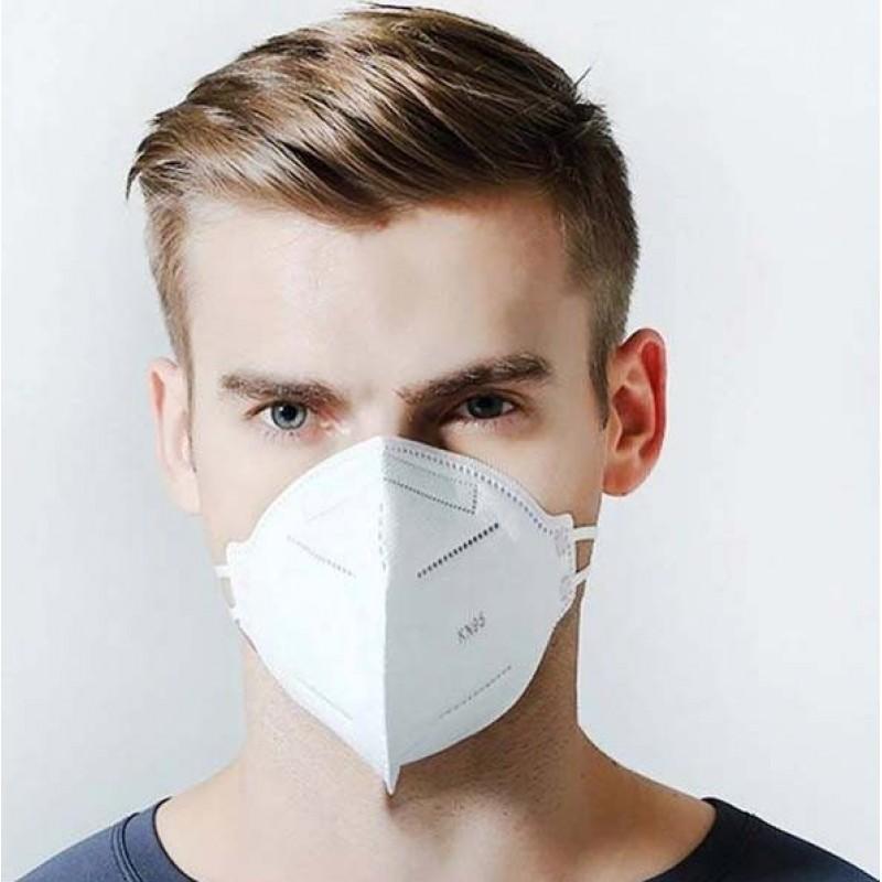 盒装50个 呼吸防护面罩 KN95 95%过滤。防护口罩。 PM2.5。五层保护。抗感染病毒和细菌