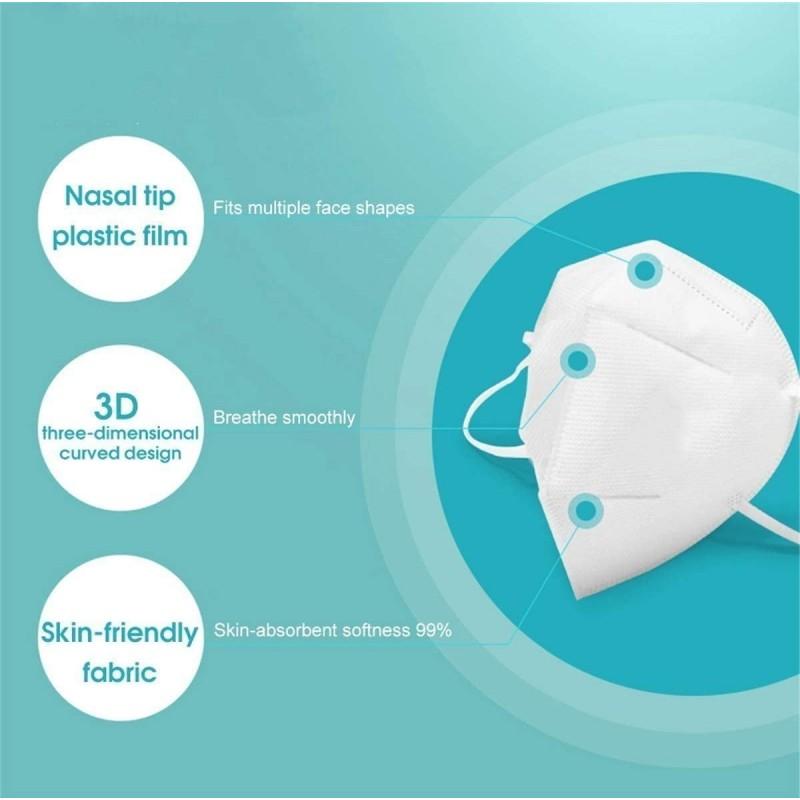 Boîte de 50 unités Masques Protection Respiratoire Filtration à 95% KN95. Masque de protection respiratoire. PM2.5. Protection à cinq couches. Anti virus et bactéries