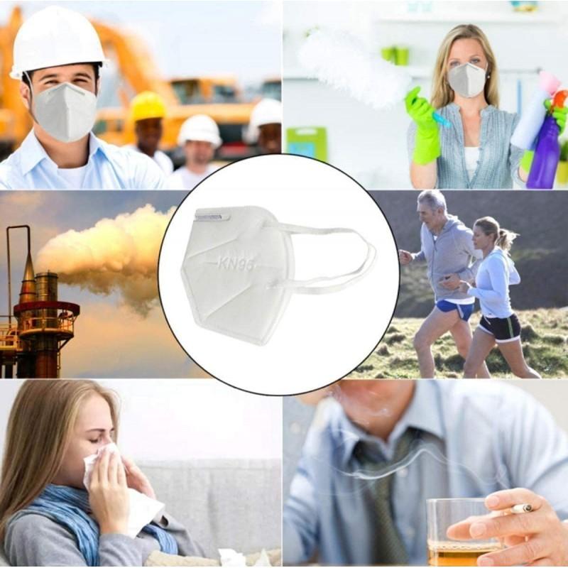 Caja de 100 unidades Mascarillas Protección Respiratoria Mascarilla respiratoria autofiltrante. KN95. 95% de filtración. Cinco capas. Protección contra virus y bacterias. PM2.5