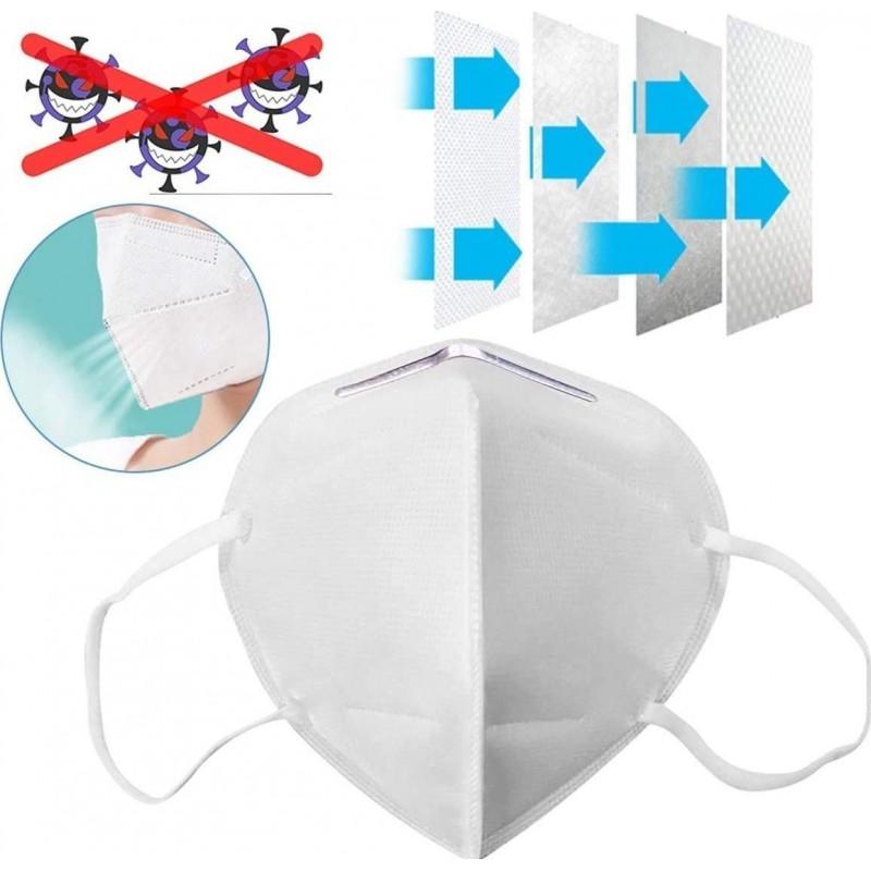 Caixa de 100 unidades Máscaras Proteção Respiratória Filtragem KN95 a 95%. Máscara de proteção respiratória. PM2.5. Proteção de cinco camadas. Vírus e bactérias anti-infecções