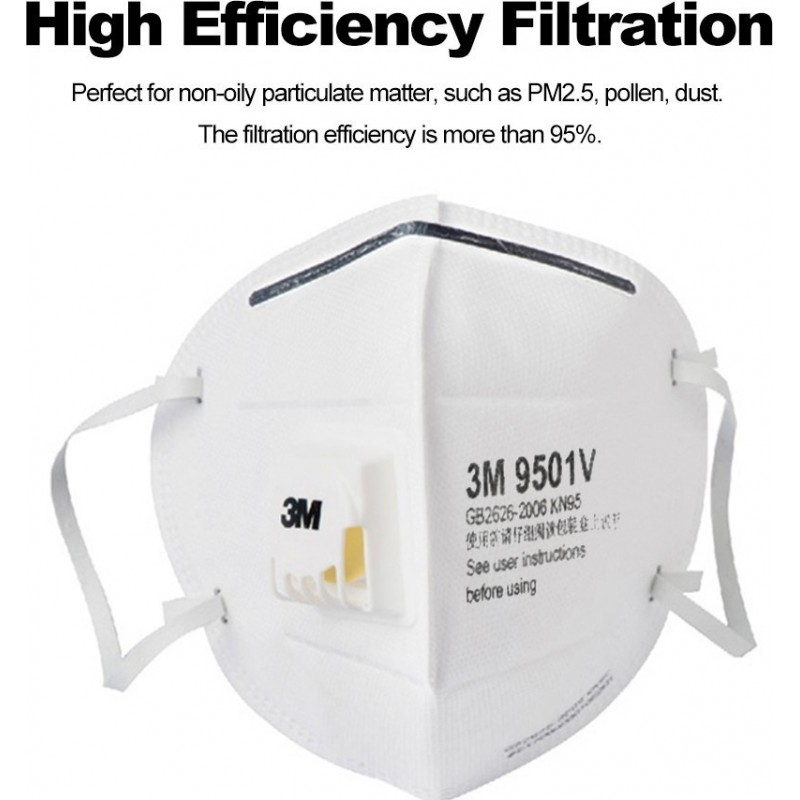 349,95 € Kostenloser Versand | 50 Einheiten Box Atemschutzmasken 3M 9501 V KN95 FFP2. Partikelschutzmaske mit Ventil PM2.5. Atemschutzgerät für Partikelfilter