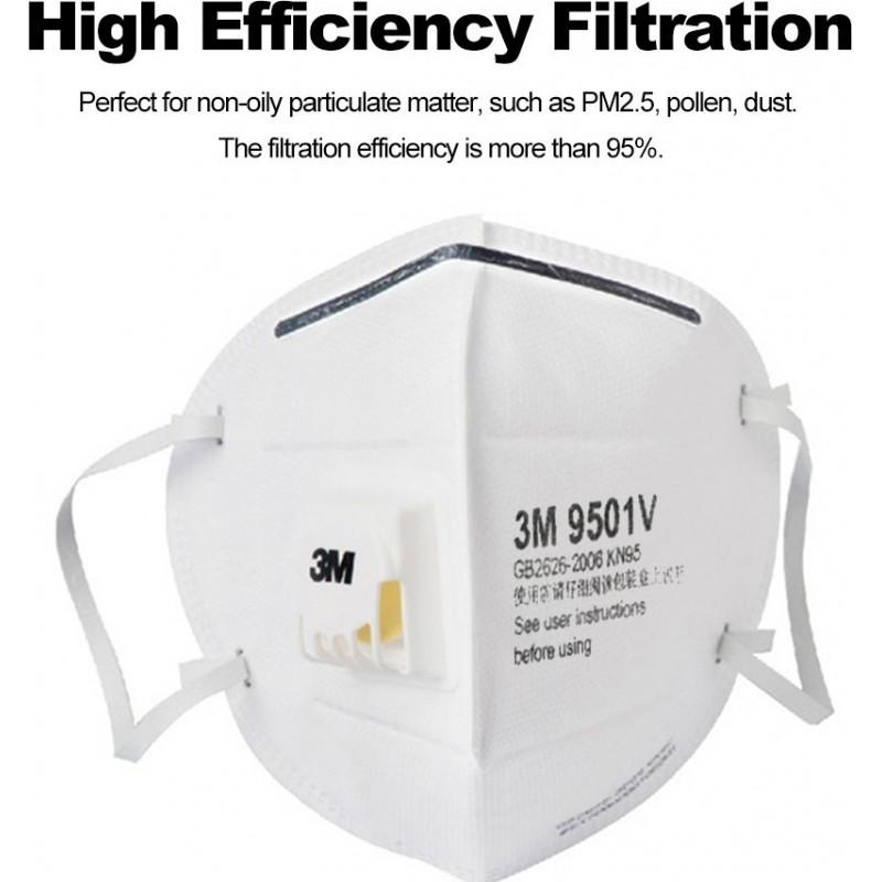 349,95 € Бесплатная доставка | Коробка из 50 единиц Респираторные защитные маски 3M 9501V KN95 FFP2. Защитная респираторная маска из твердых частиц с клапаном PM2.5. Респиратор с фильтром частиц