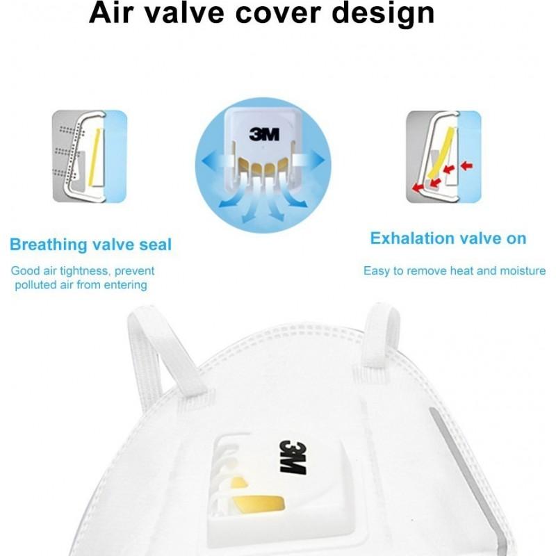 89,95 € 免费送货 | 盒装10个 呼吸防护面罩 3M 3M 9502V+ KN95 FFP2带有阀的呼吸防护面罩。 PM2.5颗粒过滤式防毒面具