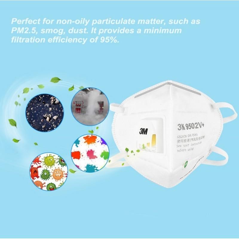 89,95 € Envoi gratuit | Boîte de 10 unités Masques Protection Respiratoire 3M 3M 9502V+ KN95 FFP2 Masque de protection respiratoire avec valve. Respirateur à filtre à particules PM2.5