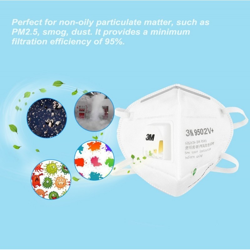89,95 € Envío gratis | Caja de 10 unidades Mascarillas Protección Respiratoria 3M 9502V+ KN95 FFP2. Mascarilla de protección respiratoria autofiltrante con válvula. Respirador de filtro de partículas PM2.5