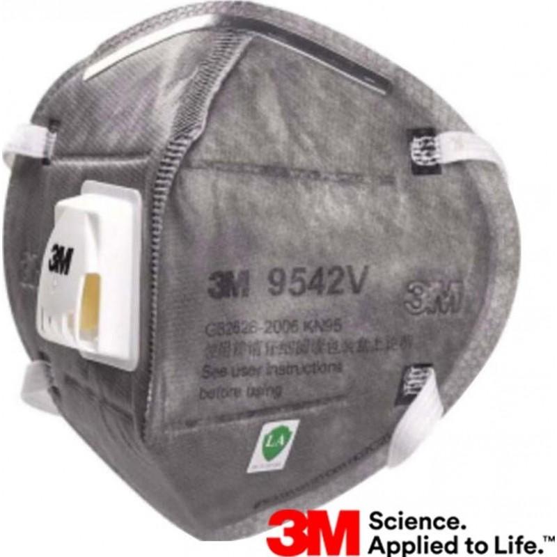 599,95 € 免费送货 | 盒装100个 呼吸防护面罩 3M 9542V KN95 FFP2。带阀门的呼吸防护面罩。 PM2.5颗粒过滤式防毒面具