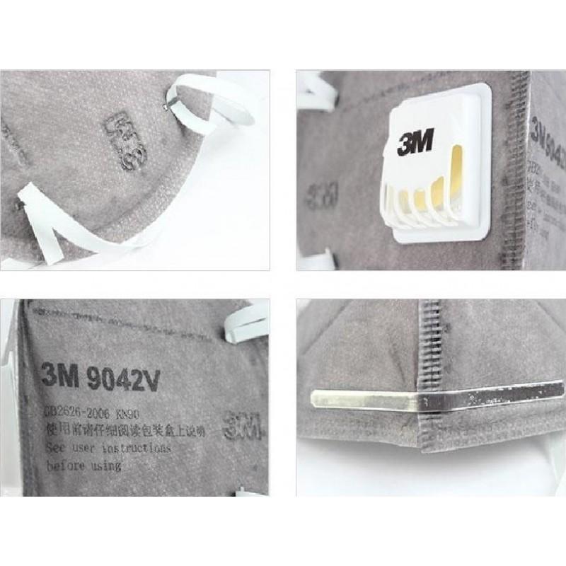 599,95 € 免费送货   盒装100个 呼吸防护面罩 3M 9542V KN95 FFP2。带阀门的呼吸防护面罩。 PM2.5颗粒过滤式防毒面具