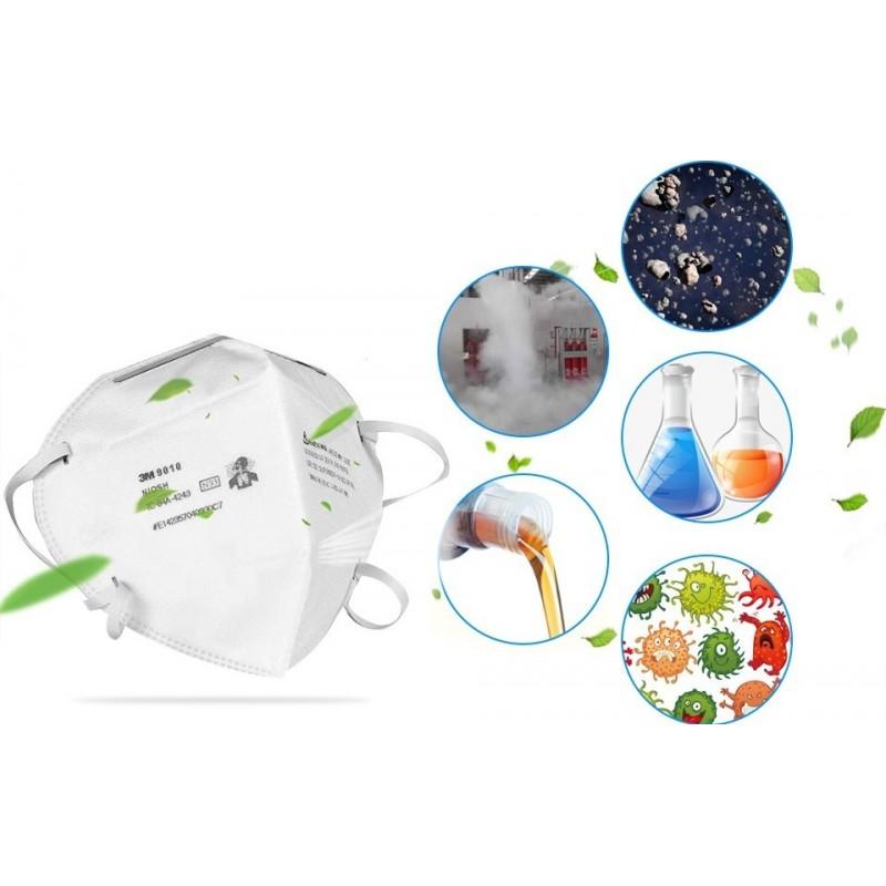 129,95 € 免费送货 | 盒装10个 呼吸防护面罩 3M 9010 N95 FFP2。呼吸防护面罩。 PM2.5防污染口罩。颗粒过滤器防毒面具