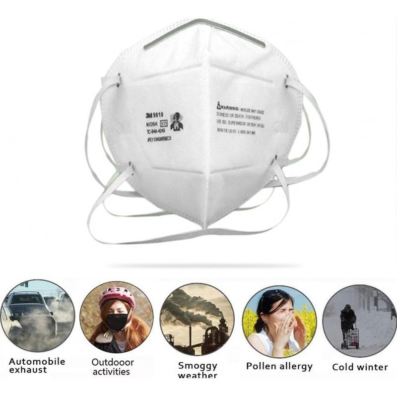 129,95 € Spedizione Gratuita | Scatola da 10 unità Maschere Protezione Respiratorie 3M 9010 N95 FFP2. Maschera di protezione delle vie respiratorie. Respiratore con filtro antiparticolato. PM2.5