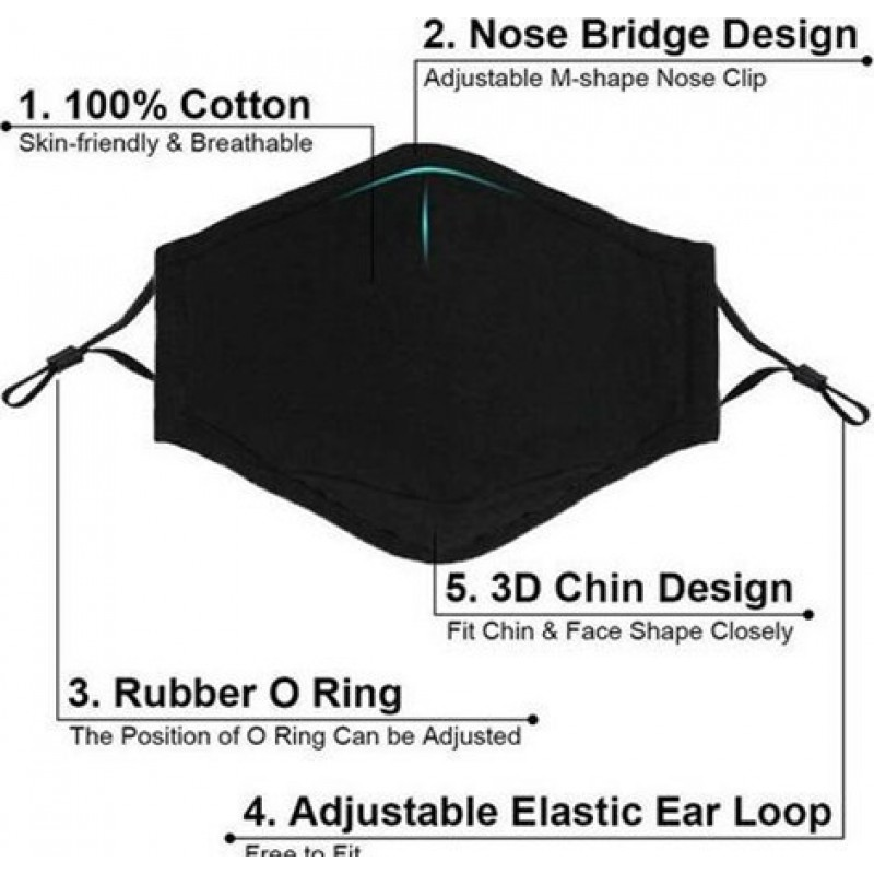 Caja de 10 unidades Mascarillas Protección Respiratoria Color negro. Mascarilla de protección respiratoria reutilizable con 100 piezas de filtros de carbón