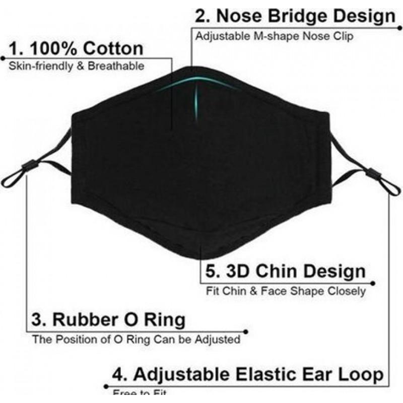 Scatola da 10 unità Maschere Protezione Respiratorie Colore nero. Maschere di protezione respiratoria riutilizzabili con filtri a carbone attivo da 100 pezzi