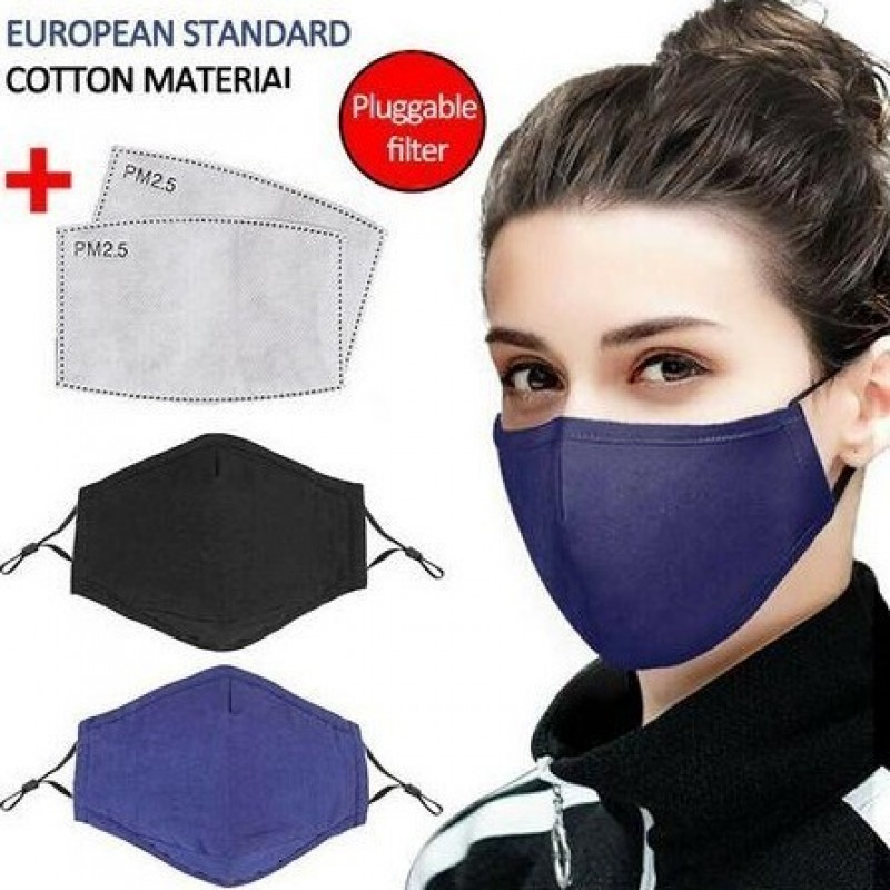 5 Einheiten Box Atemschutzmasken Blaue Farbe. Wiederverwendbare Atemschutzmasken mit 50 Stück Kohlefilter